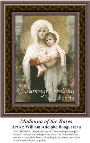 Madonna of the Roses, Fine Art Counted Cross Stitch Pattern
