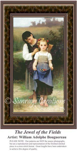 The Jewel of the Fields, Fine Art Counted Cross Stitch Pattern, Family Counted Cross Stitch Pattern
