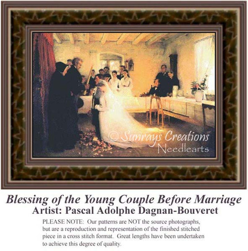 Blessing of the Young Couple Before Marriage, Fine Art Counted Cross Stitch Pattern, Romance Counted Cross Stitch Pattern