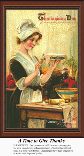 A Time to Give Thanks, Vintage Counted Cross Stitch Pattern
