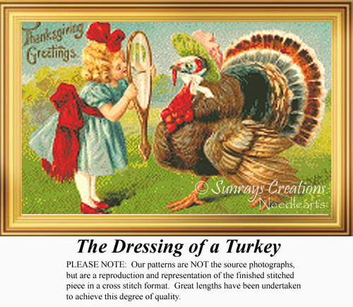 The Dressing of a Turkey, Vintage Counted Cross Stitch Pattern