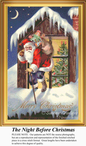 The Night Before Christmas, Vintage Counted Cross Stitch Pattern