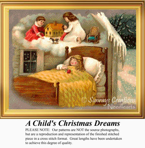 A Child's Christmas Dreams, Vintage Counted Cross Stitch Pattern