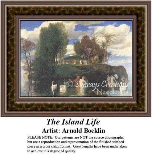 The Island Life, Fine Art Counted Cross Stitch Pattern, Waterscapes Counted Cross Stitch Pattern