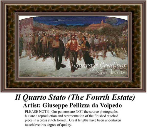 Il Quarto Stato (The Fourth Estate), RFine Art Counted Cross Stitch Pattern, Social Counted Cross Stitch Pattern