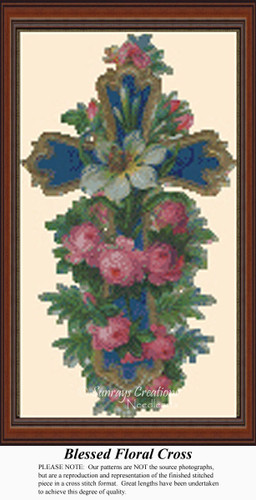 Blessed Floral Cross, Vintage Counted Cross Stitch Pattern
