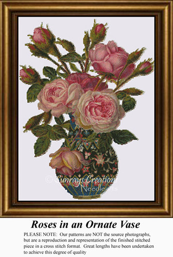 Roses in an Ornate Vase, Flowers Counted Cross Stitch Pattern
