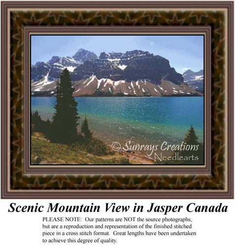 Scenic Mountain View in Jasper Canada, Landscapes Counted Cross Stitch Pattern