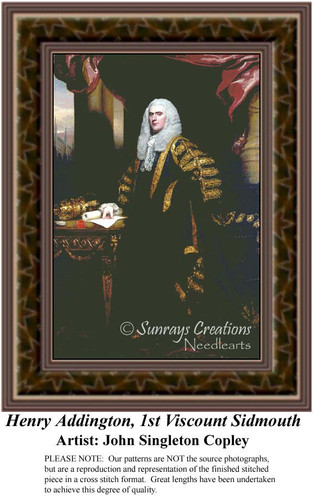 Henry Addington, 1st Viscount Sidmouth, Fine Art Counted Cross Stitch Pattern, Nobility Counted Cross Stitch Pattern, Men Counted Cross Stitch Pattern