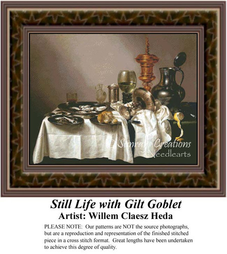Still Life with Gilt Goblet, Still Lifes Counted Cross Stitch Pattern, Fine Art Counted Cross Stitch Pattern