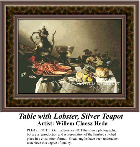 Table with Lobster, Silver Teapot, Still Lifes Counted Cross Stitch Pattern, Fine Art Counted Cross Stitch Pattern