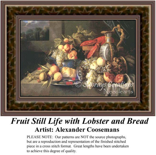 Fruit Still Life with Lobster and Bread, Still Lifes Counted Cross Stitch Pattern, Fine Art Counted Cross Stitch Pattern