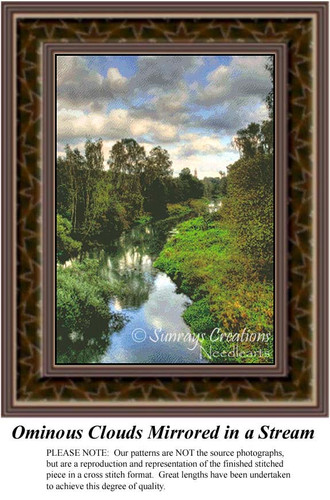 Ominous Clouds Mirrored in a Stream, Landscape Counted Cross Stitch Pattern, Waterscapes Counted Cross Stitch Patterns