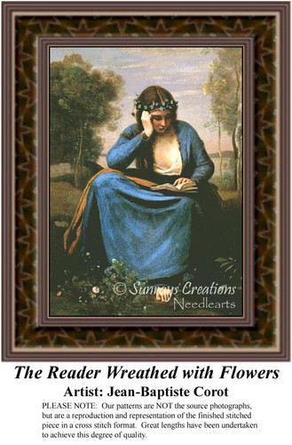 The Reader Wreathed with Flowers, Fine Art Counted Cross Stitch Pattern