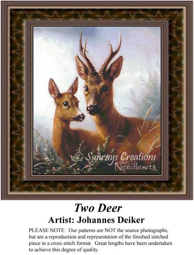 Two Deer, Fine Art Counted Cross Stitch Pattern