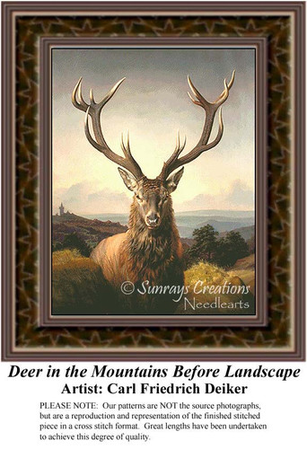 Deer in the Mountains Before Landscape, Fine Art Cross Stitch Pattern