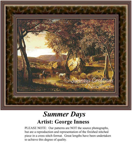 Summer Days, Summer Counted Cross Stitch Pattern, Fine Art Counted Cross Stitch Pattern