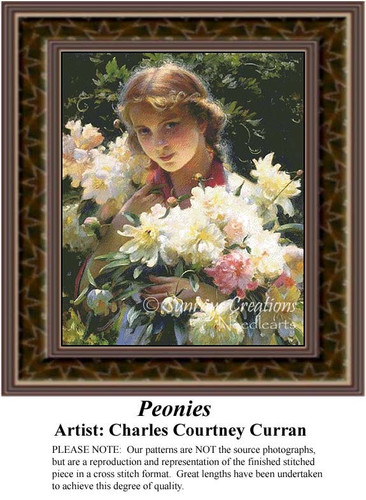 Peonies, Fine Art Counted Cross Stitch Pattern, Children Counted Cross Stitch Pattern