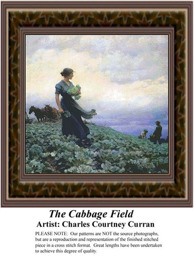 The Cabbage Field, Fine Art Counted Cross Stitch Pattern, Alluring Landscapes Counted Cross Stitch Pattern