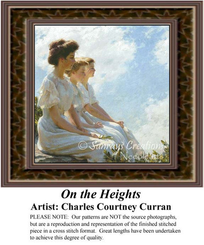 On the Heights, Fine Art Counted Cross Stitch Pattern, Women Counted Cross Stitch Pattern