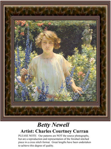 Betty Newell, Fine Art Counted Cross Stitch Pattern, Women Counted Cross Stitch Pattern