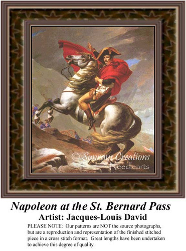 Napoleon at the St. Bernard Pass, Fine Art Counted Cross Stitch Pattern, Nobility Counted Cross Stitch Pattern, Men Counted Cross Stitch Patterns