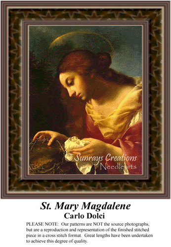 St. Mary Magdalene, Fine Art Counted Cross Stitch Pattern, Religious Cross Stitch Pattern
