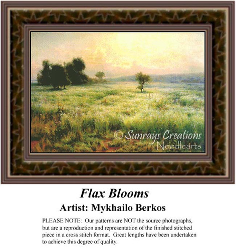 Flax Blooms, Fine Art Counted Cross Stitch Pattern, Alluring Landscapes Counted Cross Stitch Pattern