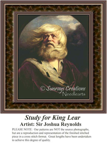 Study for King Lear, Nobility Counted Cross Stitch Pattern, Fine Art Counted Cross Stitch Pattern