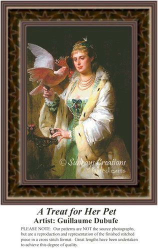 A Treat for Her Pet, Fine Art Counted Cross Stitch Pattern, Women Counted Cross Stitch Pattern