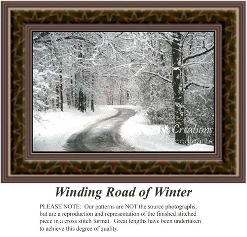 Winding Road of Winter, Landscapes Counted Cross Stitch Pattern, Winter Counted Cross Stitch Patterns