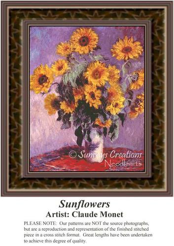 Sunflowers, Fine Art Counted Cross Stitch Pattern