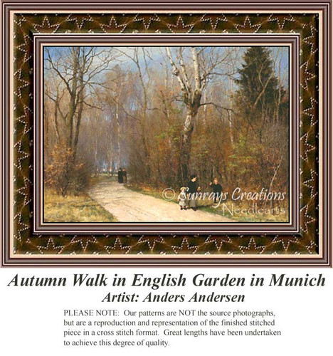 Autumn Walk in English Garden in Munich, Fine Art Counted Cross Stitch Pattern, Fall Counted Cross Stitch Pattern, Alluring Landscapes Cross Stitch Patterns