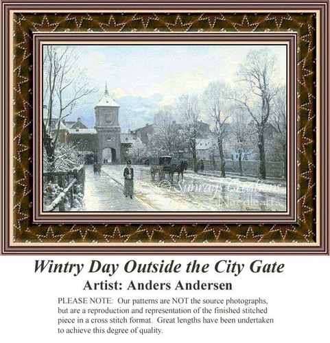 Wintry Day Outside the City Gate, Fine Art Counted Cross Stitch Pattern, Winter Counted Cross Stitch Pattern, Urban Cross Stitch Patterns