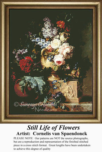 Still Life of Flowers, Fine Art Counted Cross Stitch Pattern