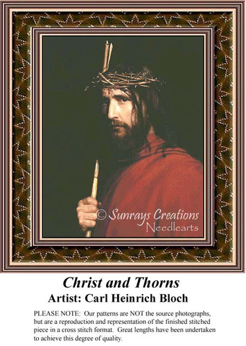 Christ and Thorns, Fine Art Counted Cross Stitch Pattern