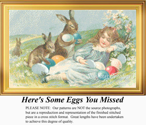 Here's Some Eggs You Missed, Vintage Counted Cross Stitch Pattern