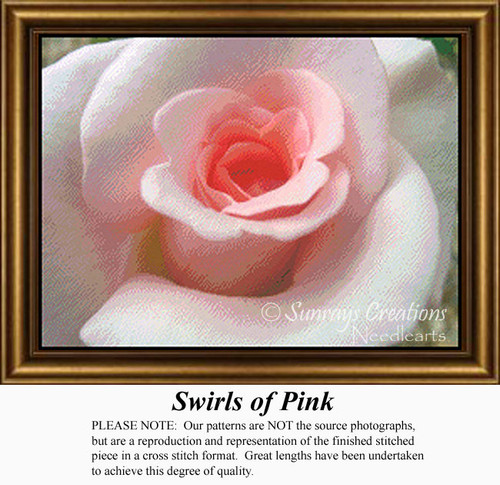 Swirls of Pink, Flowers Counted Cross Stitch Pattern