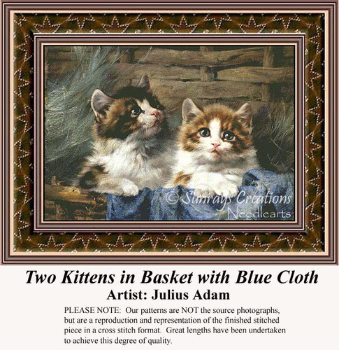 Two Kittens in Basket with Blue Cloth, Fine Art Counted Cross Stitch Pattern