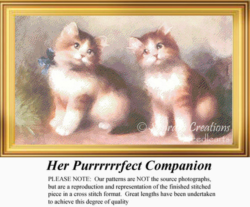 Her Purrrrrrfect Companion, Vintage Counted Cross Stitch Pattern