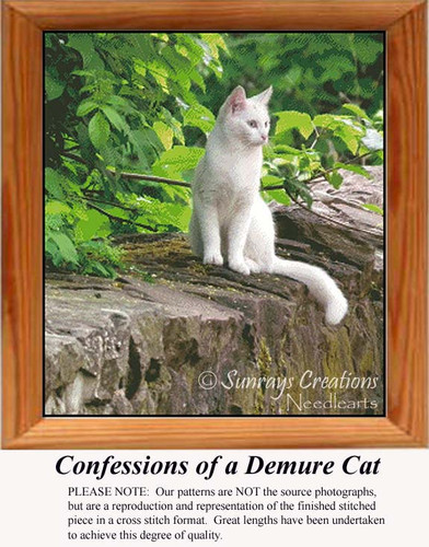 Confessions of a Demure Cat, Animals Counted Cross Stitch Pattern