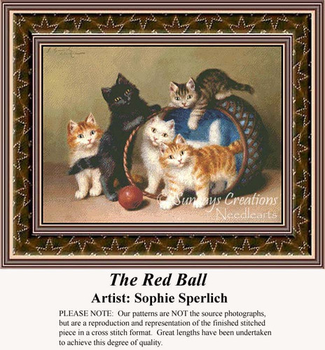 The Red Ball, Fine Art Counted Cross Stitch Pattern