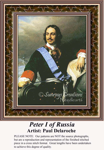 Peter I of Russia, Nobility Counted Cross Stitch Pattern, Fine Art Counted Cross Stitch Pattern, Men Counted Cross Stitch Pattern