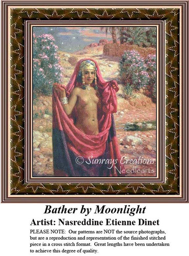 Bather by Moonlight, Fine Art Counted Cross Stitch Pattern, Women Counted Cross Stitch Pattern