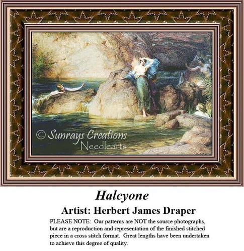 Halcyone, Fine Art Counted Cross Stitch Pattern, Social Counted Cross Stitch Pattern