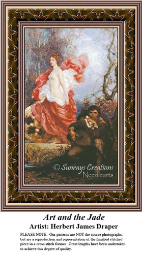 Art and the Jade, Fine Art Counted Cross Stitch Pattern, Romance Counted Cross Stitch Pattern