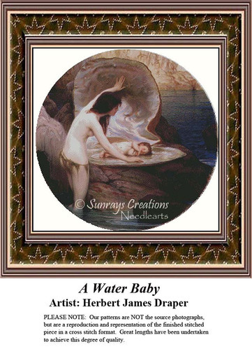 A Water Baby, Fine Art Counted Cross Stitch Pattern, Children Counted Cross Stitch Pattern