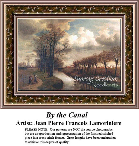 By the Canal, Waterscapes Counted Cross Stitch Patterns, Fine Art Counted Cross Stitch Pattern