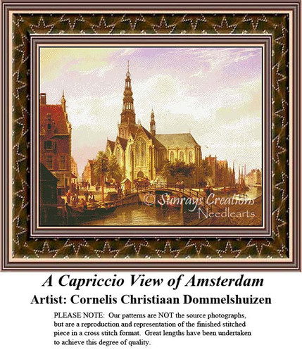 A Capriccio View of Amsterdam, Fine Art Counted Cross Stitch Pattern