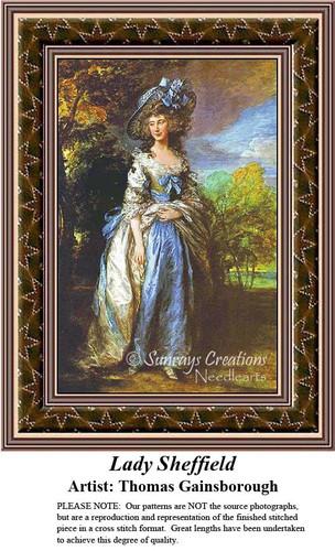 Lady Sheffield Fine Art Counted Cross Stitch Pattern, Women Counted Cross Stitch Pattern